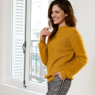 Pull col montant maille poilue