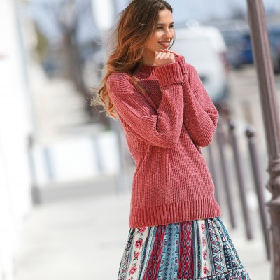 Pull maille chenille col montant
