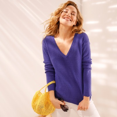 Pull col V maille jersey