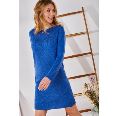 Robe pull col bateau maille ajourée toucher mohair