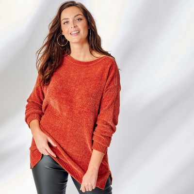 Pull boîte maille chenille manches longues