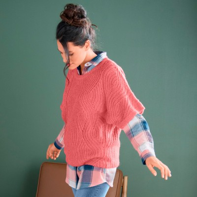 Pull poncho manches coudes