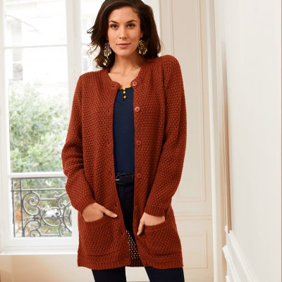 Cardigan long boutonné