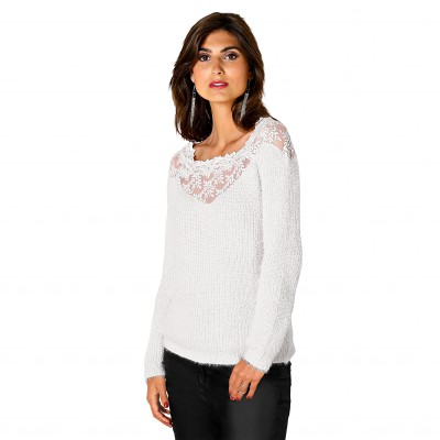 Pull tulle brodé manches longues