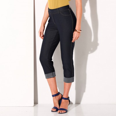 Pantacourt maille jean extensible