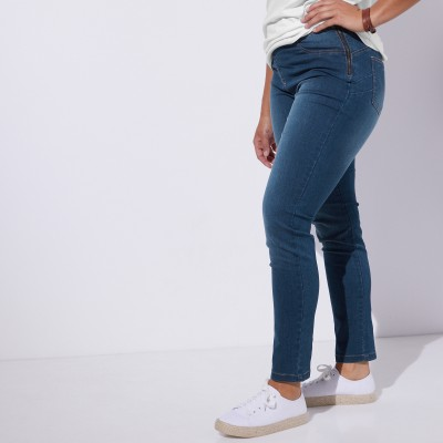 Tregging denim ventre plat