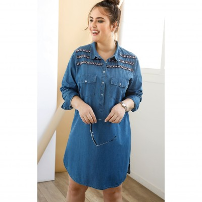 Robe en denim plastron fantaisie