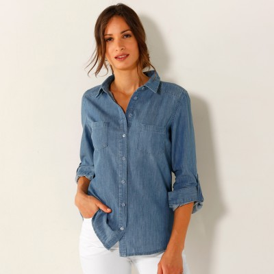 Chemise jean manches longues