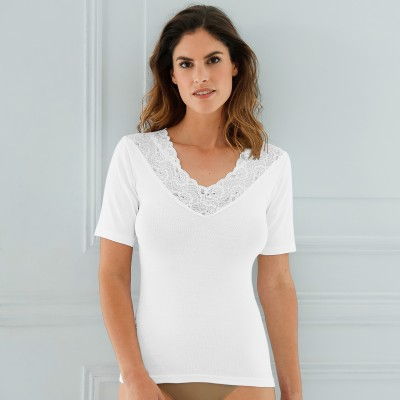 Tee-shirt coton et dentelle Thermoperle* - lot de 2