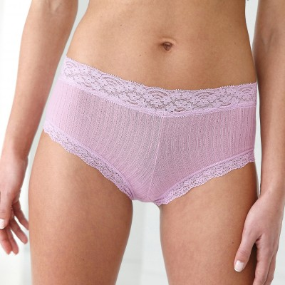 Shorty coton côtelé dentelle - lot de 3
