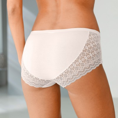 Culotte forme shorty incrustée de dentelle - Lot de 3