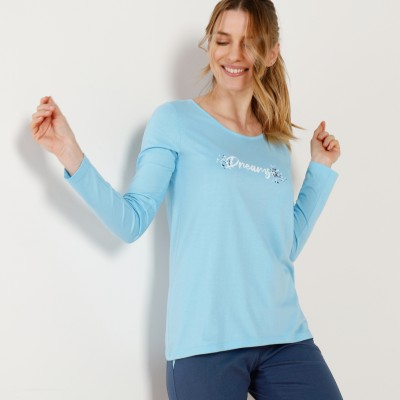 Tee-shirt manches longues – turquoise