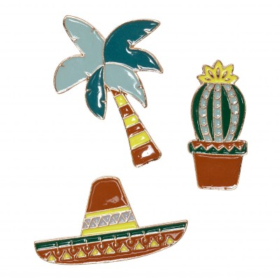 Broches sombrero cactus palmier - lot de 3