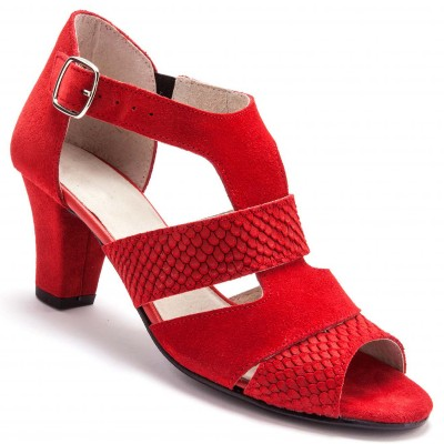 Sandales cuir velours largeur confort - rouge