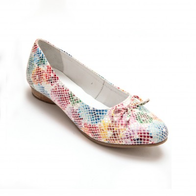 Ballerines cuir multicolore - grande largeur