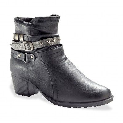 Boots sangle clous noir
