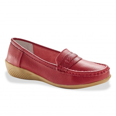 Mocassin cuir rouge