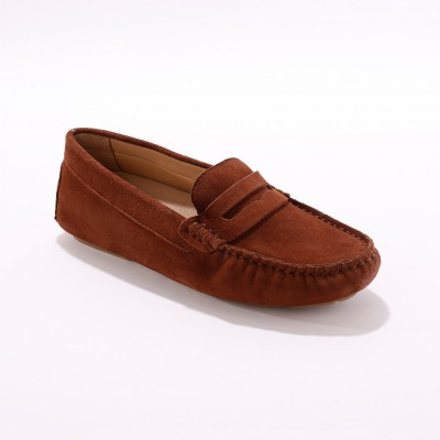 Mocassins en cuir velours - marron