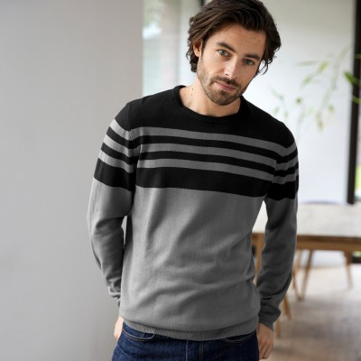 Pull rayé col rond toucher cachemire
