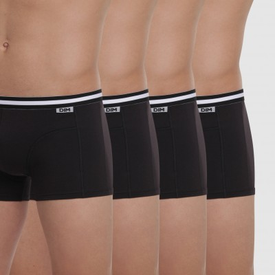 Boxer coton stretch Eco-Dim® - lot de 4 noir