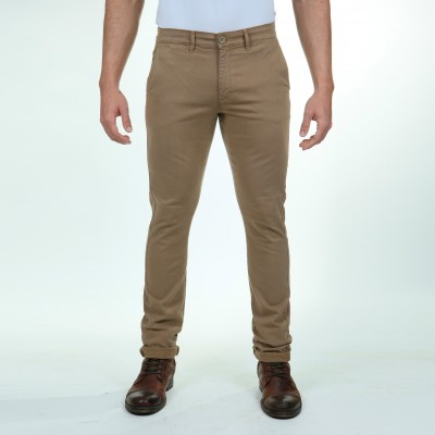 Pantalon gabardine stretch coupe chino couleur noisette Fibreflex