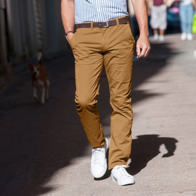 Pantalon chino uni sergé stretch grand confort
