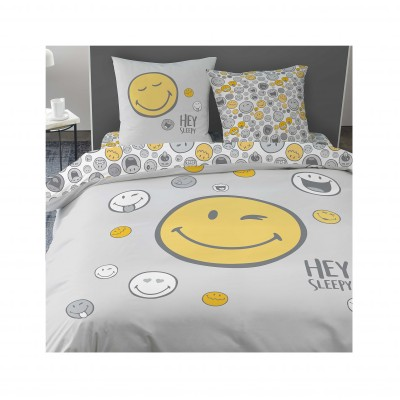 Parure de lit Smiley• Hey Sleepy coton Gris: Vue 1