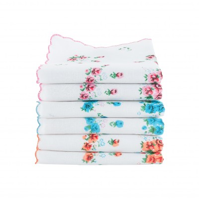 Mouchoirs femme finition festonnée - Lot de 6 ou 12 Rose + bleu + orange: Vue 1