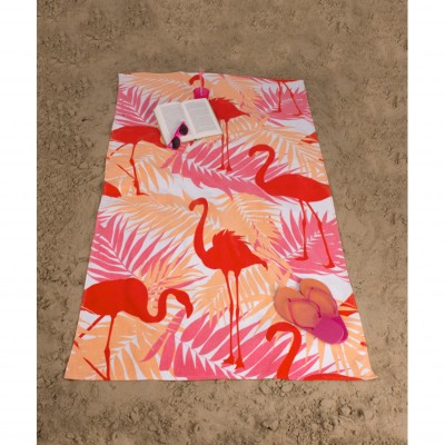 Drap de bain ou de plage Flamants Roses Orange: Vue 1