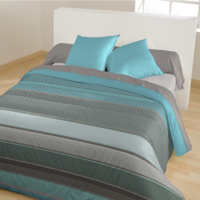 Couette microfibre rayée Turquoise: Vue 1