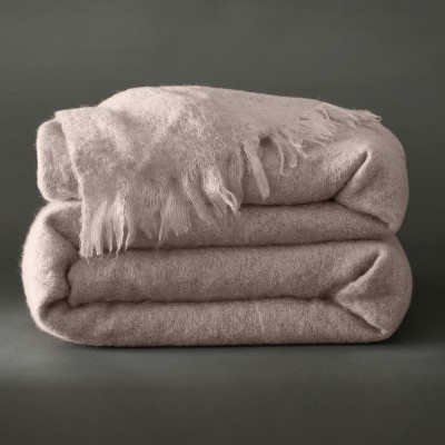 Couverture laine mohair Angora Taupe: Vue 1