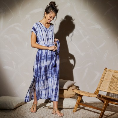 Robe longue maille tie and dye