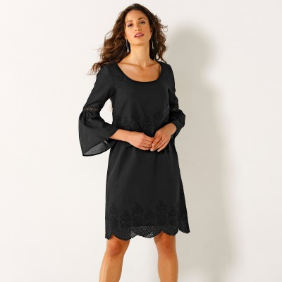 Robe broderie anglaise manches 3/4 Noir: Vue 1