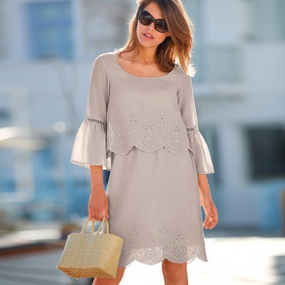 Robe broderie anglaise manches 3/4 Ficelle: Vue 1