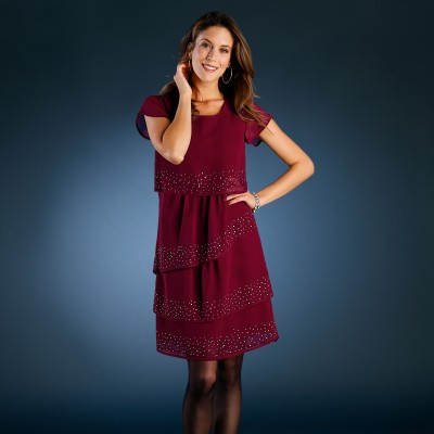Robe strass volants Bordeaux: Vue 1