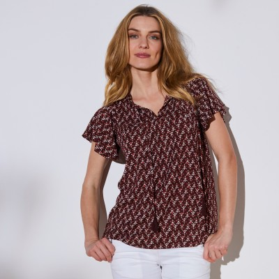 Blouse imprimée Chocolat / orange: Vue 1