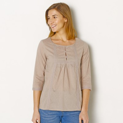 Blouse plumetis manches 3/4 Taupe: Vue 1