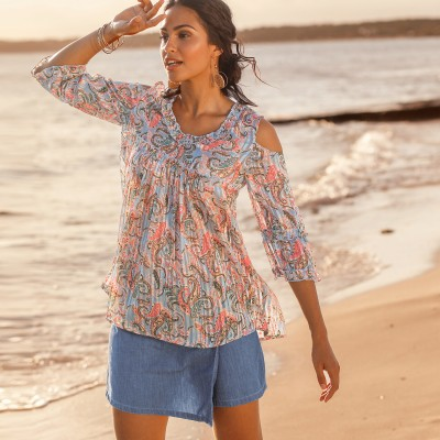 Blouse manches nouettes - unie Taupe: Vue 1
