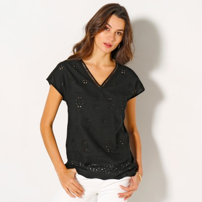 Blouse col V broderie anglaise Noir: Vue 1