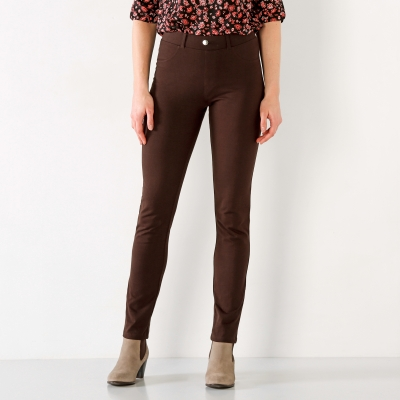 Pantalon uni maille ultra stretch Chocolat: Vue 1