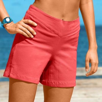 Short toile stretch Corail: Vue 1