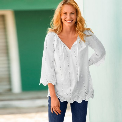 Blouse broderie anglaise Blanc: Vue 1