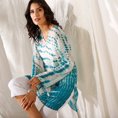 """Blouse ample col V voile effet """"tie and dye"""""""