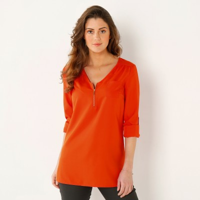 Blouse zippée unie Orange: Vue 1