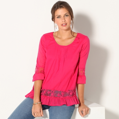 Blouse manches 3/4 tulle brodé Framboise: Vue 1