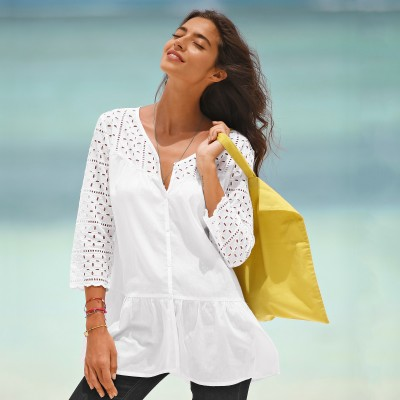 Blouse manches 3/4 broderie anglaise Blanc: Vue 1