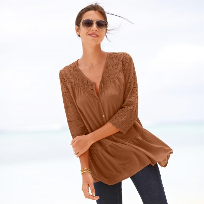 Blouse manches 3/4 broderie anglaise Noisette: Vue 1