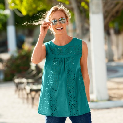 Blouse col rond broderie anglaise Menthe: Vue 1