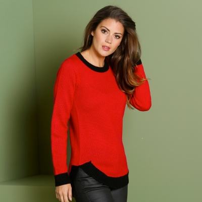 Pull moelleux bicolore