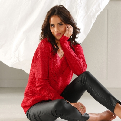 Pull col V maille fantaisie Rouge: Vue 1